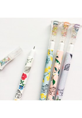 Flower Gem Cap Gel Pen