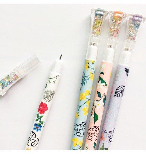 Flower Gem Cap Gel Pen