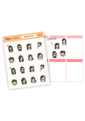 Assorted Sarah Stickers (brunette)