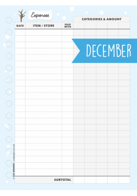 Expense Tracker Page - December 2018