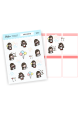 Assorted Sandra Stickers (black hair)