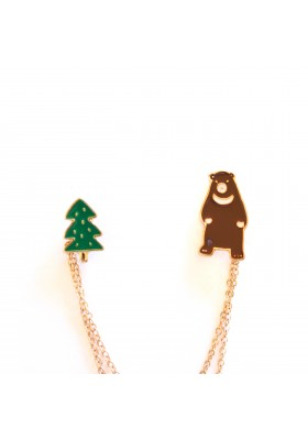 Bear & Tree Double Enamel Pin