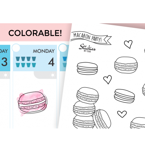 Macaron Colorable Stickers