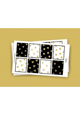 Black & Gold Glitters Full Box Stickers