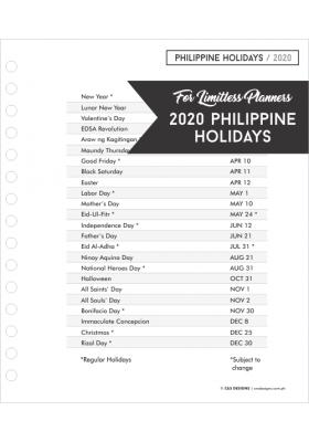 2020 Philippine Holidays Page